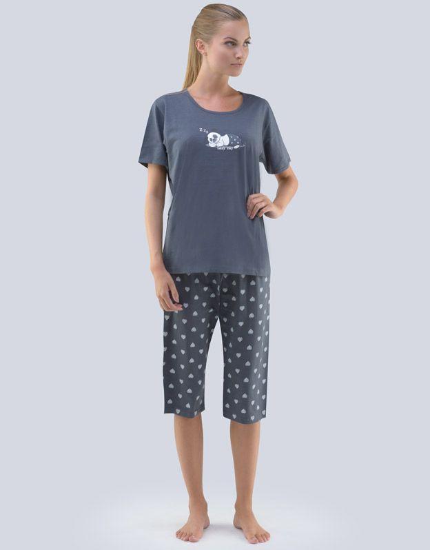 GINA dámské pyžamo 3/4 dámské, 3/4 kalhoty, šité, s potiskem Pyžama 2018 19070P
