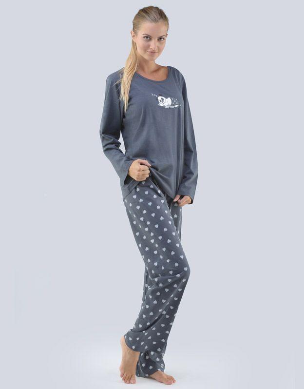 dámské pyžamo dlouhé dámské 19077P GINA