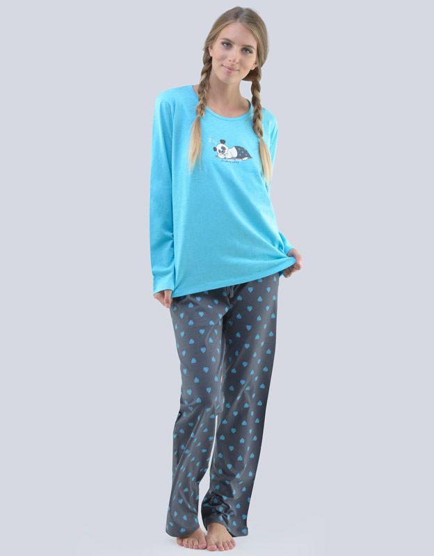 dámské pyžamo dlouhé dámské 19077P - tm. tyrkysová tm. šedá L GINA