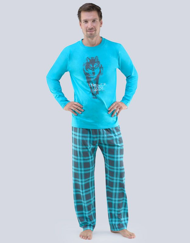 pánské pyžamo dlouhé pánské 79055P GINA