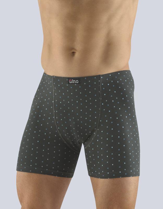 pánské boxerky s delší nohavičkou 74118P - tm. šedá tm. tyrkysová 50/52 GINA
