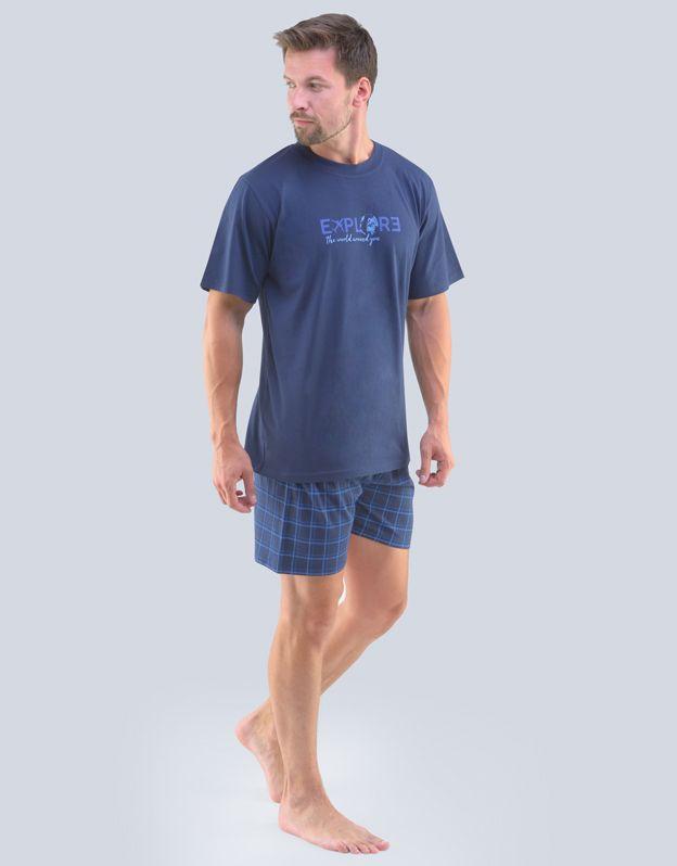 pánské pyžamo krátké pánské 79100P - lékořice modrá S GINA