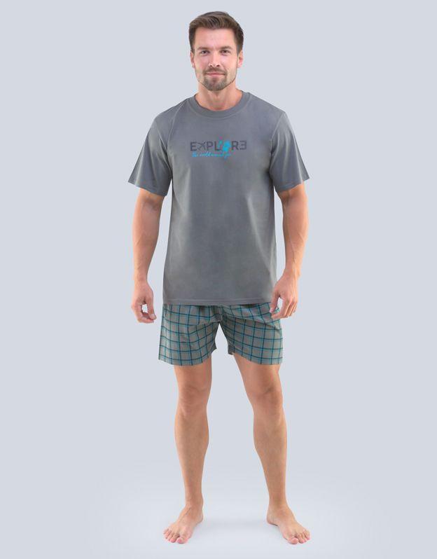 pánské pyžamo krátké pánské 79100P - tm. šedá šalvěj M GINA